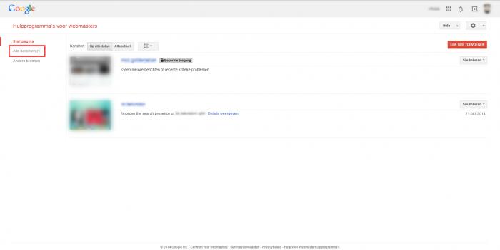 Google webmastertools dashboard