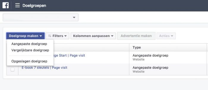Aangepaste doelgroepen in Facebook advertentiebeheer
