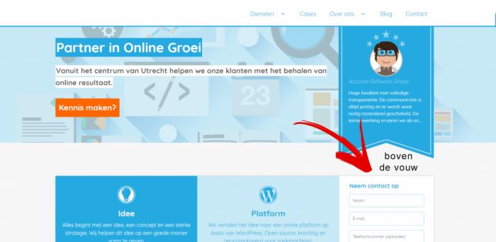 conversieformulier boven de vouw van je website