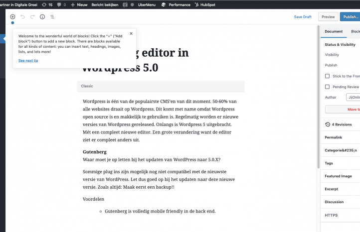 Gutenberg editor in WordPress 5.0