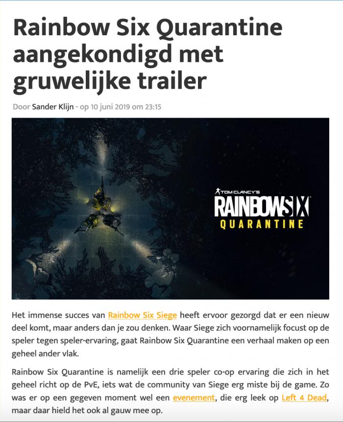 Artikel over een aankondiging van een game met een afbeelding van de game.