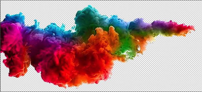 Kleuren rook met een transparante achtergrond.